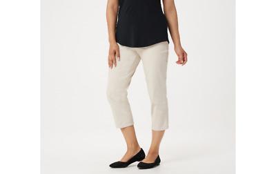 Denim /& Co Original Waist Stretch Crop Pants Side Pockets Black M NEW A14925