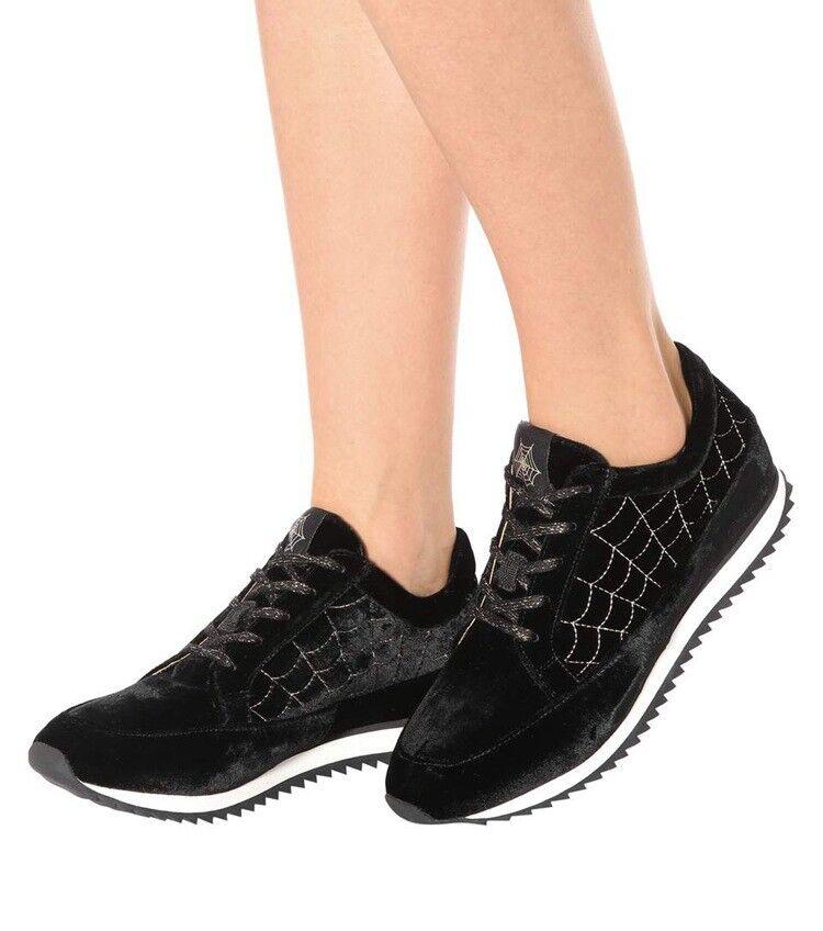 325   la nueva Charlotte Olympia trabaja con zapatos de deporte dorados bordados de terciopelo, zapatos negros 42