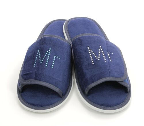 BLUE TOWELING DIAMANTE FASHION SLIPPERS PERSONALISED WITH RHINESTONES