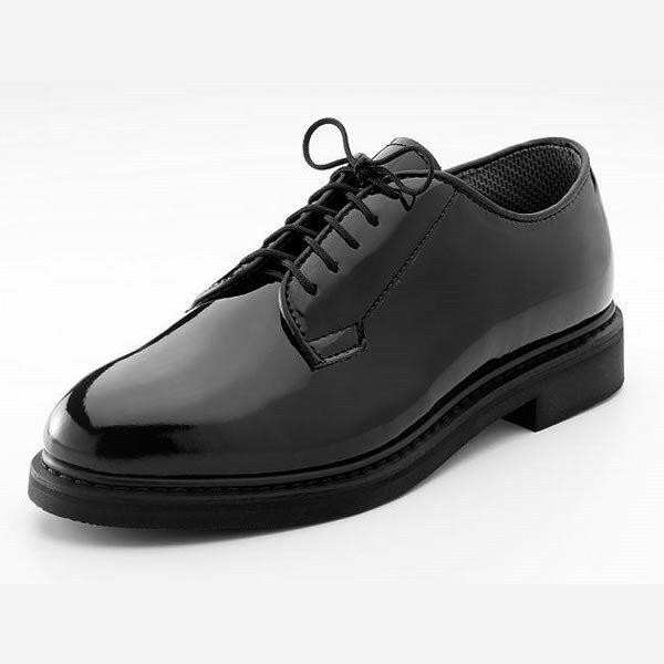 Black HI Gloss redHCO Corfram Military Dress Uniform Patent Leather Oxford shoes
