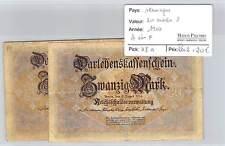 2 BILLETS ALLEMAGNE - 20 MARK 1914 A ET F