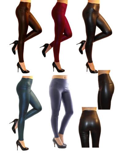MATT-leggings luccicanti Pantaloni röre Treggings alta vernice federale come ECOPELLE