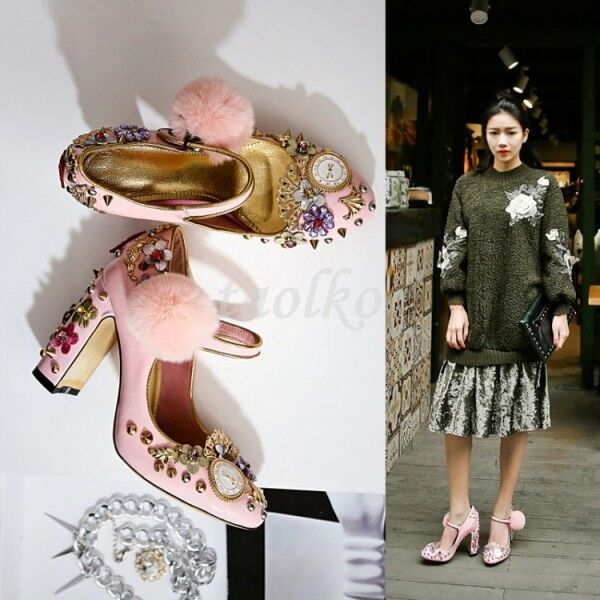 Donna High Block Heels Floral Pearls Straps Rhinestone ball Pumps Shoes Sz