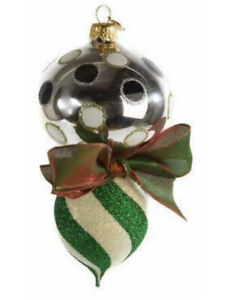 Mackenzie-Childs-HOLIDAY-DOUBLE-DROP-SAVOY-Blown-Glass-Ornament-NEW-62-m19-2
