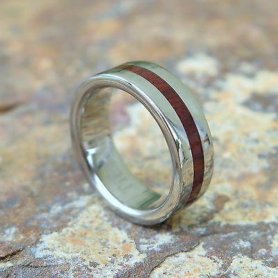 Genuine Hawaiian Jewelry Koa Wood Inlay Titanium Wedding Ring Band 6mm TIR4042
