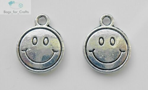 TC53 Tibetan Silver Smiley Face Happy Emoji Charms Pendants 12mm Double Sided