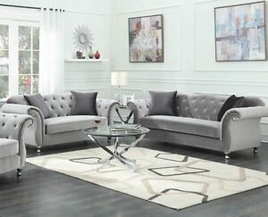 Details About Modern Luxe Glam Living Room 2 Piece Sofa Loveseat Couch Set  Silver Velvet