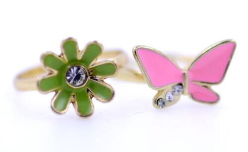 Un conjunto de dos Ajustable Tono Oro Esmalte Cristal Y Mariposa Y Daisy Anillos