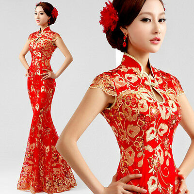 Cheongsam Evening Prom Party Wedding Mermaid Dress Ball Gown Embroidery F187