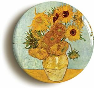 SUNFLOWERS-VINCENT-VAN-GOGH-BADGE-BUTTON-PIN-Size-is-2inch-50mm-diameter-ART