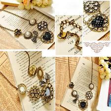 Fashion Vintage Pearl Flower Heart Rhinestone Bronze Chain Pendant Necklace