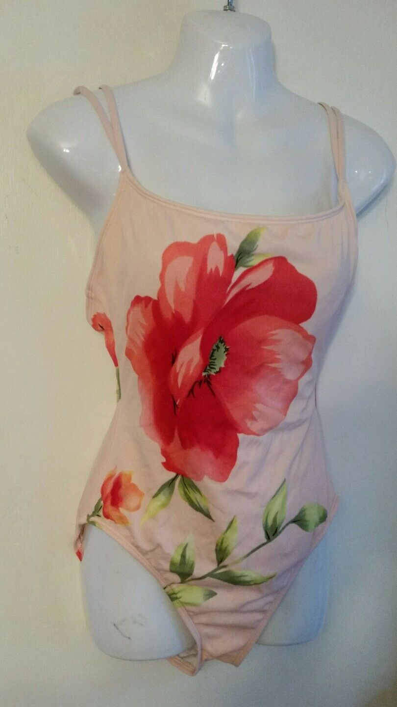 ANNE COLE Collection Pink Floral Print One Piece Swimsuit Size 14 Hard To Find