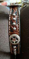 Western Star Genuine Leather Dog Collar W/concho Size 26
