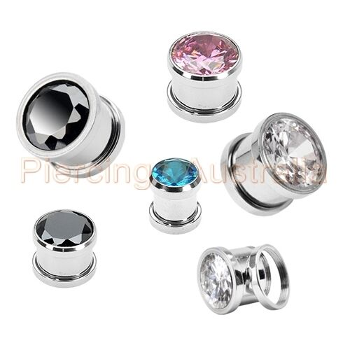 Gem Surgical Steel Screw Fit Ear Piercing Tunnel Stretcher CHOOSE SINGLE OR PAIR