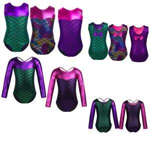 Girls Shiny Gymnastics Leotards Vest Ballet Dance Athletic Dancewear Bodysuit