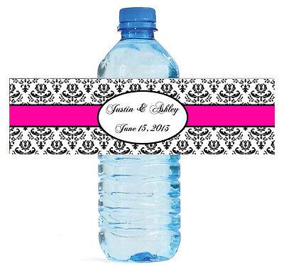 "100 Damask 1 Pink Wedding Anniversary Baby Shower Water Bottle Labels 8""x2"""