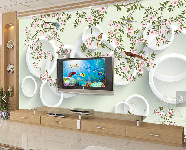 3D Bird Circle Tree 7 Wall Paper Murals Wall Print Wall Wallpaper Mural AU Lemon