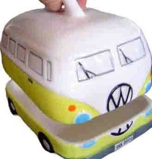 Yellow VW Volkswagen Kombi Camper Ceramic Butter Dish / Holder / Container