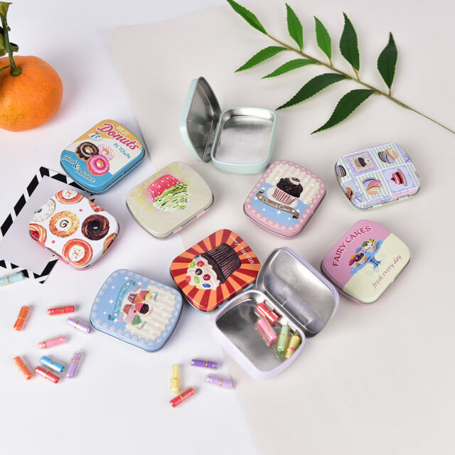 Portable Rectangle Tea Candy Storage Tin Lipstick Organizer Makeup Container Jc