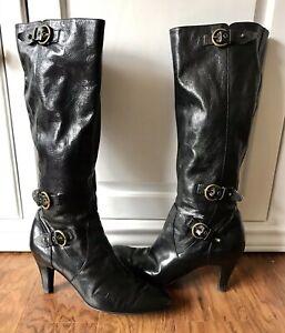 Bandolino Black Leather Tall High Heel