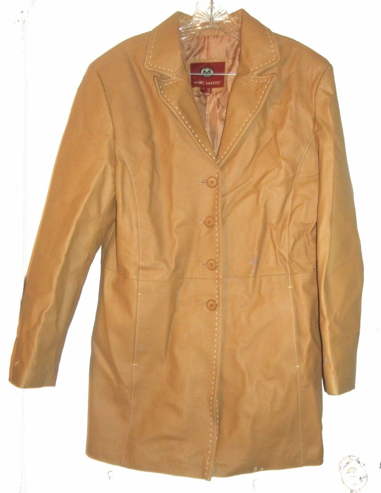 Marc Mattis Camel Brown Leather Coat White Accents Genuine Leather Coat Size XL