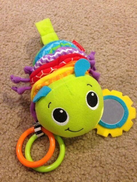Infantino Caterpillar Pull Musical Crib Car Seat Toy Plush Rattle Mirror Teether