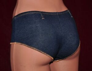 4x Damen Slip Hipster Panty Hotpants Unterwäsche Jeans Look Gr. 34/36 (xl)