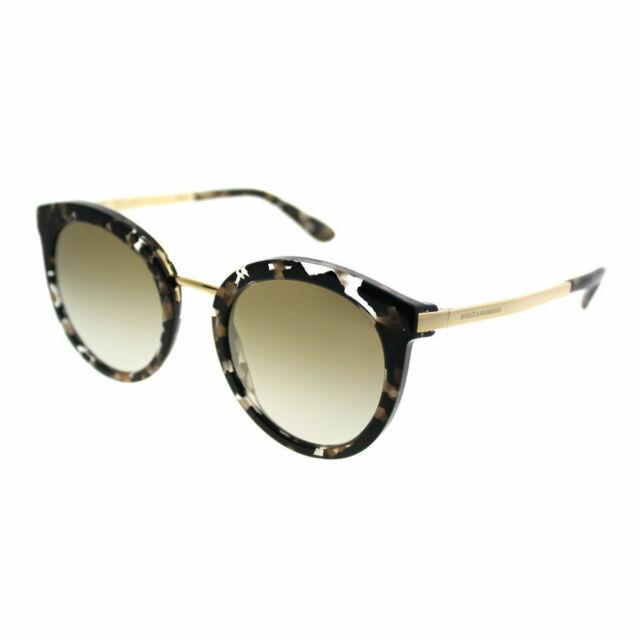 b5c3a3f7610 Dolce   Gabbana DG 4268 911 6e Gold Frame Brown Lens Round 52mm Sunglasses