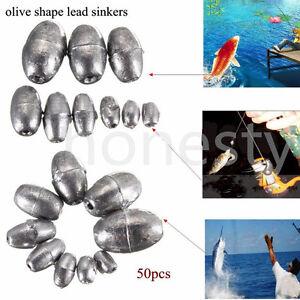 50pc-Olive-Shape-Weights-Lead-Sinkers-Pure-Lead-Making-Sea-Fishing-Sinker-Tackle