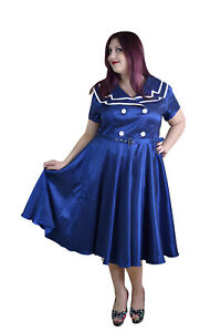 Details about Plus Size Sailor dress vintage 1940s SAILOR 50\'s SWING FLARED  PARTY retro Dress
