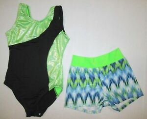 3d2eff5f2 NEW Size 4 XS SC Child Leotard Shorts Set Gymnastics Dance Lot of 2 ...