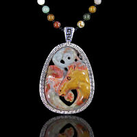 Carved Multi Color Agate Horse Necklace Db302001