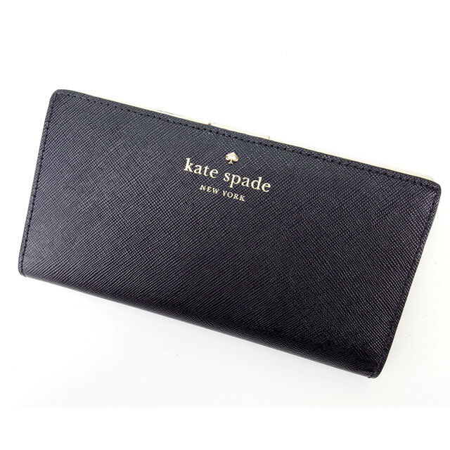 Kate Spade Wallet Purse Long Wallet Black White Woman Authentic Used Y1106