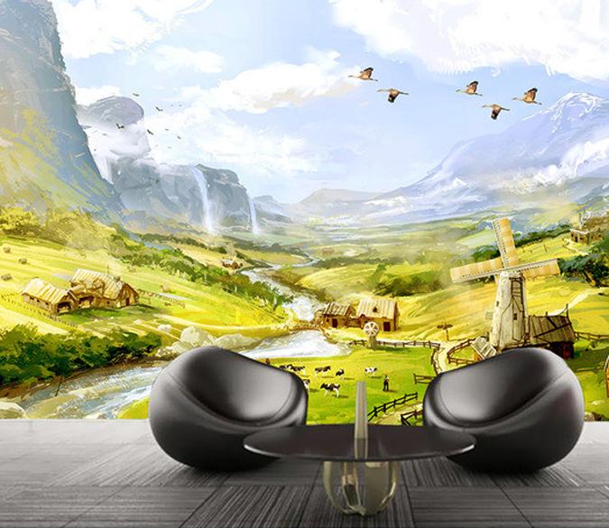 3D Ölgemälde Landschaft 689 Tapete Tapeten Mauer Foto Familie Tapete Wandgemälde