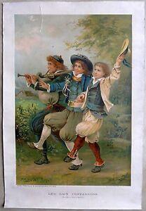 Lithographie-de-MENETRIER-Les-gais-compagnons-d-039-apres-une-peinture-de-E-LEJEUNE