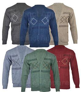 Mens-Classic-Button-Front-Cardigan-Argyle-Diamond-Grandad-S-M-L-XL