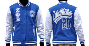Zeta Phi Beta Blue White fleece Jacket Zeta Phi Beta Blue Baseball