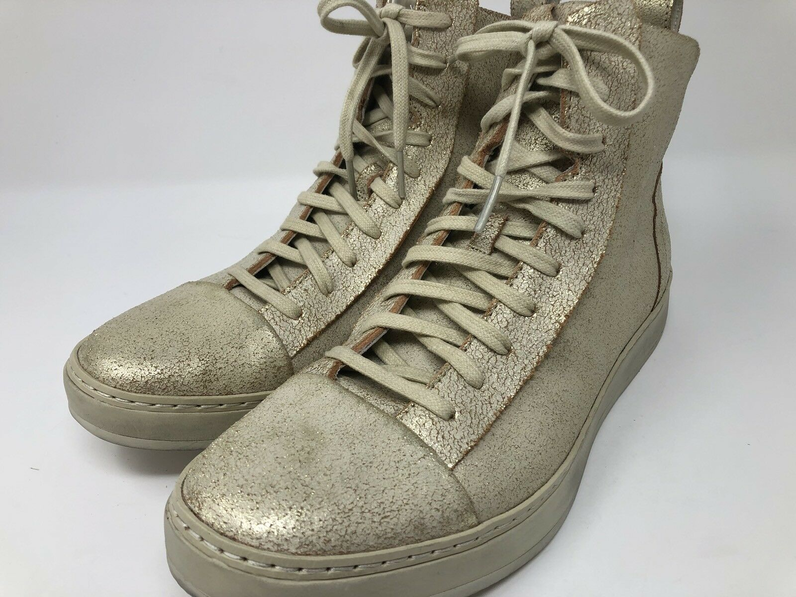 NEW JOHN VARVATOS 315 COLLECTION DEEK HIGH TOP SNEAKERS SZ US 8 M Sparkly gold