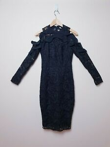 Cooper St Size 8 Black Lace Long Sleeve Cocktail Shale Away Dress RRP$219.95