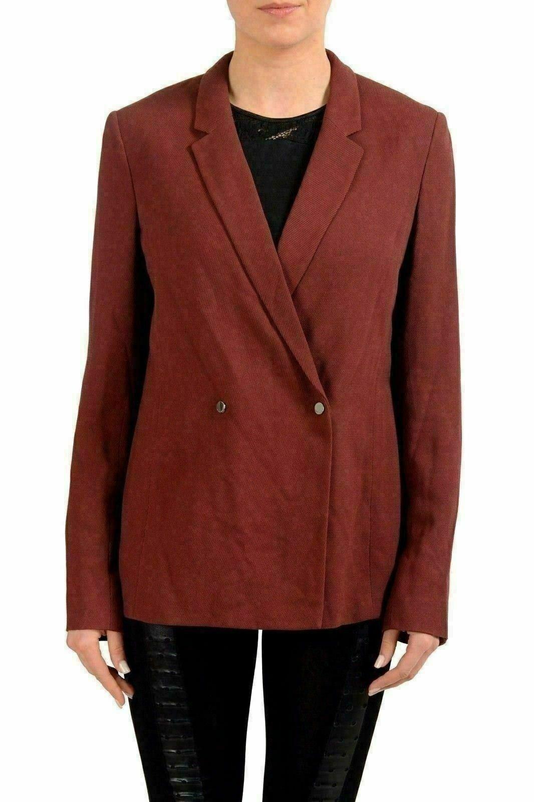 Hugo Boss Jaftina Wool Burgundy Double Breasted Women's Blazer US S IT 40