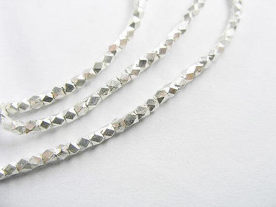 "Karen Hill Tribe Silver 180 Facet Beads 1.6 mm. 13"""