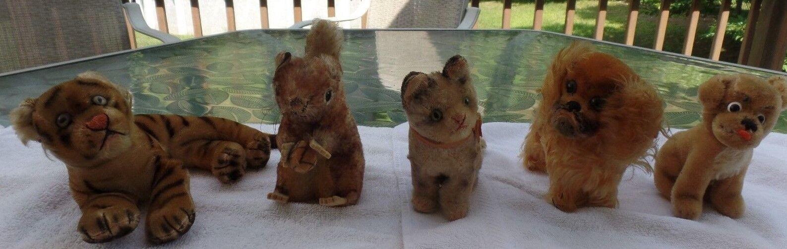 Lot of 5 Five Antique Vintage German STEIFF Bulldog Cat Pekinese Tiger Squirrel