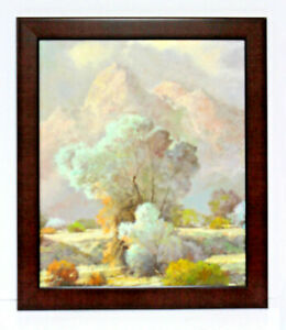 Desert-Shrub-Rocks-Landscape-20-x-24-Oil-Painting-on-Canvas-w-Custom-Frame