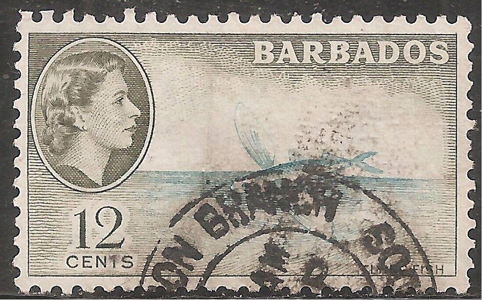 Barbados Stamp - Scott #242/A23 12c Brown Olive & Aqua Canc/LH 1953