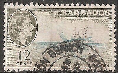 Barbados (until 1966) Scott #242/a23 12c Brown Olive & Aqua Canc/lh 1953 Hard-Working Barbados Stamp