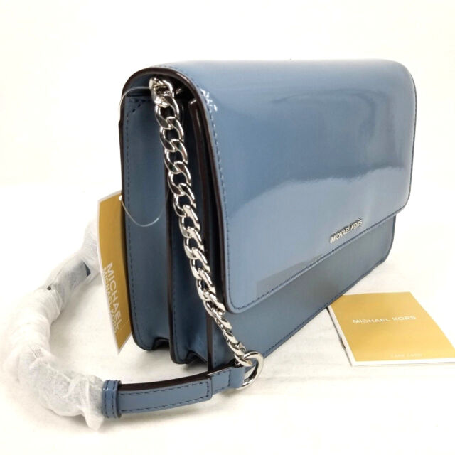86e152a2743c Michael Kors Daniela Large Crossbody Shoulder Bag Denim Blue Patent Leather