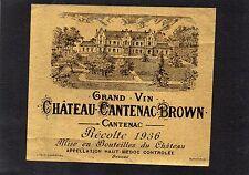 MARGAUX 3E GCC VIEILLE ETIQUETTE CHATEAU CANTENAC BROWN 1936 RARE §04/08§
