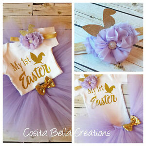 Handmade baby girl My First Easter Lavender and gold outfit tutu princess