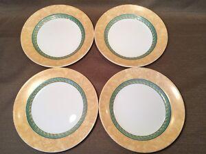 Image is loading Set-of-4-DAMASCUS-Corelle-Corningware-Dinnerware-Green- & Set of 4 DAMASCUS Corelle Corningware Dinnerware Green Gold Luncheon ...