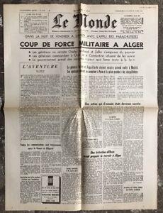 N87-La-Une-Du-Journal-Le-Monde-23-Et-24-Avril-1961